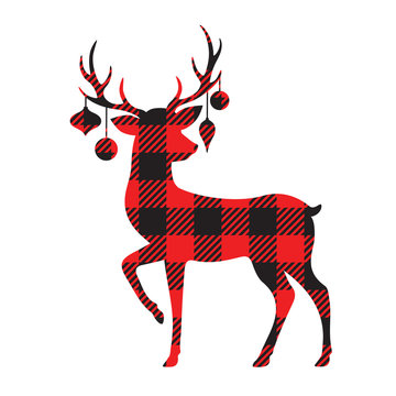 Vector illustration of a standing reindeer with Christmas ornaments. Holiday red buffalo plaid reindeer design.
