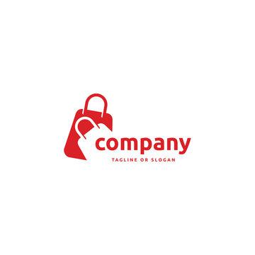 Shopping bag logo. Online shop logo.