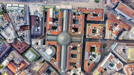 Foto op Plexiglas Milan Milan, Italy. Gallery of Victor Emanuel II 1865-1877 year of construction. Roofs of the city aerial view, Aerial View, HEAD OVER SHOT