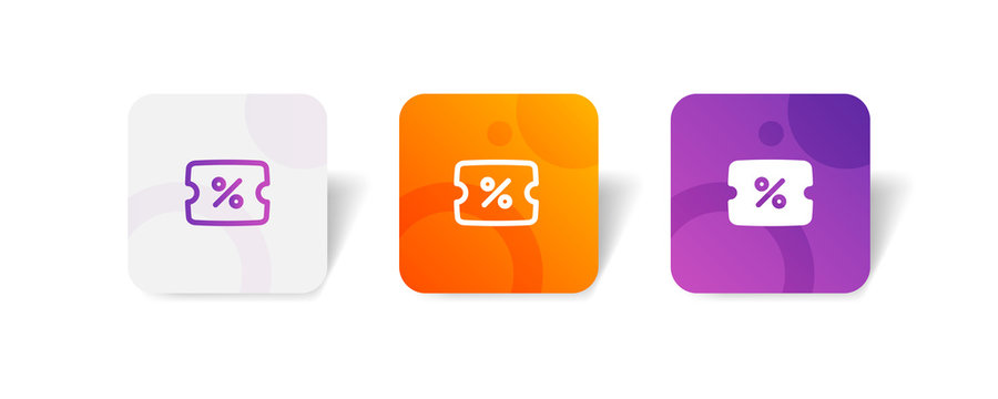 discount round icon in outline and solid style with colorful smooth gradient background, suitable for mobile and web UI, app button, infographic, etc