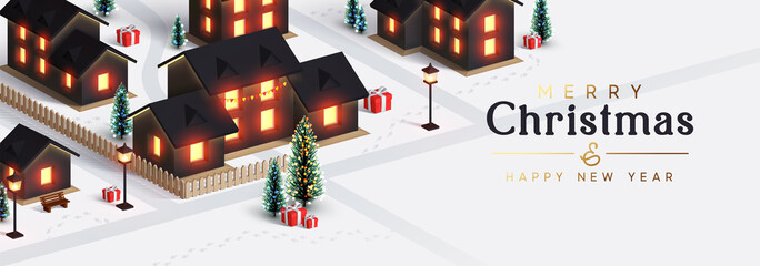 Christmas night city. The houses and street are lit by lanterns. New Year's town from the cottage houses. Festive horizontal banner, web poster, greeting card, cover. Holiday illustration