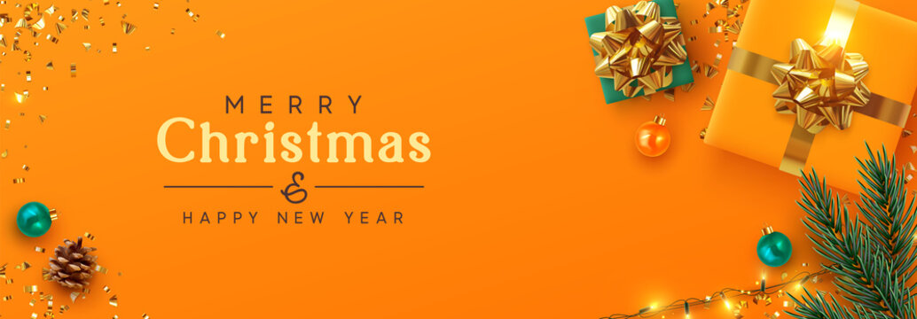 Christmas banner. Background Xmas design of sparkling lights garland, realistic gifts box, spruce branch, orange ball and glitter gold confetti. Horizontal poster, greeting cards, headers, website