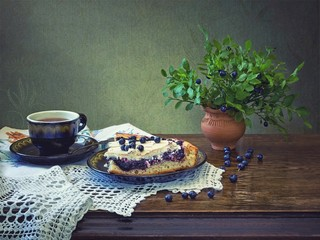 Still life with homemade blueberry cakes