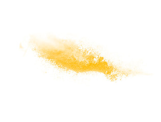 Abstract yellow watercolor explosion in motion isolated on white