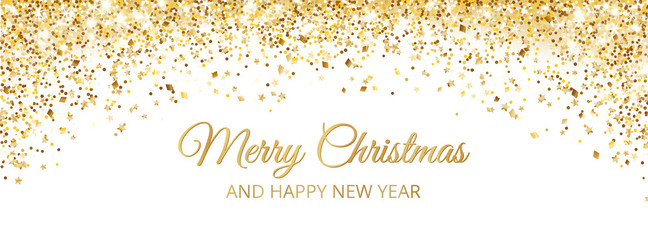 Wall Mural - Merry Christmas and New Year card design. Gold glitter decoration