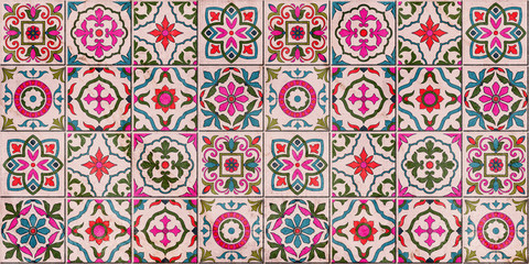 Acrylic Prints Moroccan Tiles Tiles Floor Ornament Collection. Gorgeous Seamless Patchwork Pattern from Colorful Traditional Painted Tin Glazed Ceramic Tilework Vintage Illustration. For web page template background