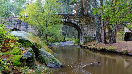 Navalacarreta bridge on the Eresma river as it passes through Valsain, Segovia, Spain