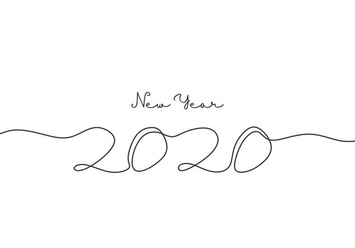 2020 New Year single continuous one line drawing art. Holiday greeting card minimalism sketch hand drawn decoration. Vector isolated on white background.