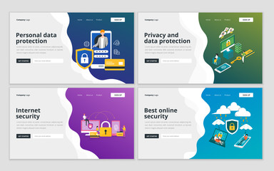 Landing page template of personal data protection, privacy and internet security for website and mobile website development