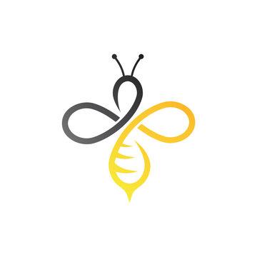 infinity and bee logo template, hardworking logo symbol, unlimited symbol logo