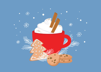 Christmas greeting card, winter invitation with red cup of hot drink. Cocoa or coffee decorated with cinnamone sticks, gingerbread cookie and fir tree branches. illustration background