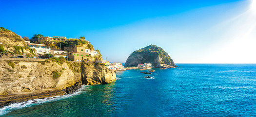 Sant Angelo beach and rocks in Ischia island. Campania, Italy.