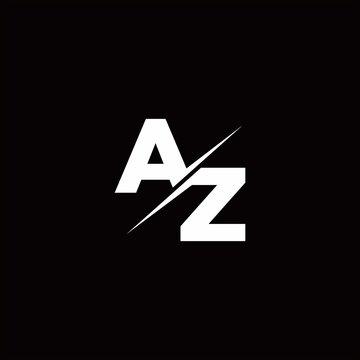 AZ Logo Letter Monogram Slash with Modern logo designs template
