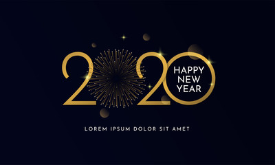 Happy new year 2020 typography text celebration poster design. glowing golden number with gold fireworks explosion element and dark sky background vector illustration. Fotomurales