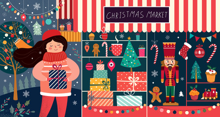 Fotomurales - Christmas decorative postcard with happy girl and gift shop
