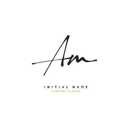 A M AM Beauty vector initial logo, handwriting logo of initial signature, wedding, fashion, jewerly, boutique, floral and botanical with creative template for any company or business.
