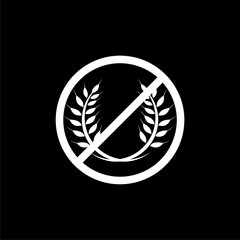 No gluten sign, Gluten free symbols isolated on black background