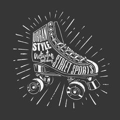 Original vector illustration. Roller skates. Drawn in chalk.