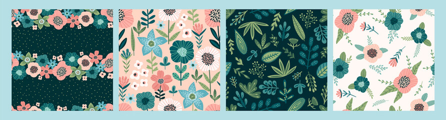 Tuinposter Kunstmatig Floral abstract seamless patterns. Vector design for different surfases.