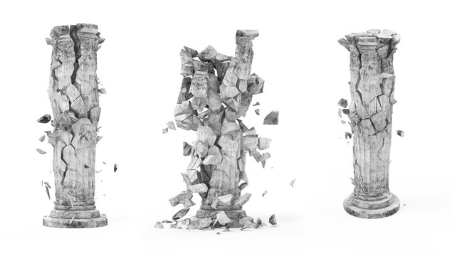 Set of Broken Classic Ancient Column isolated on white background