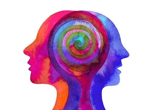 Disegno grafico terapia psicologia. Mente umana.