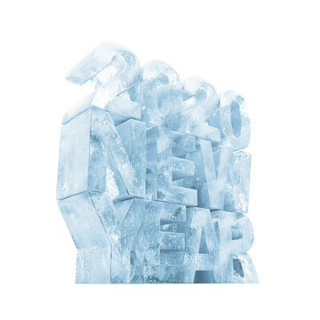 Ice New Year 2020 Symbol on white background. 3D Rendering