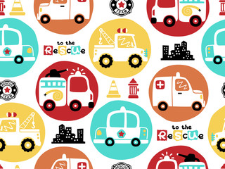 vector seamless pattern of rescue team vehicles