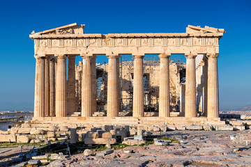 Zelfklevend Fotobehang Athene The Parthenon Temple in Acropolis of Athens, Greece.