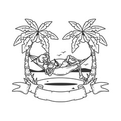 Original outline illustration of a skeleton on the beach lying in a hammock against the sea.