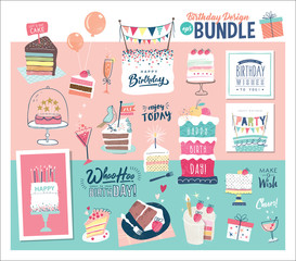 A birthday design bundle ideal to create your own birthday cards and invitations