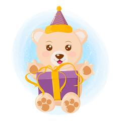 Happy bear celebrating