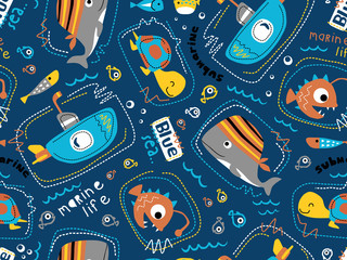 seamless pattern vector of submarine with sea animals cartoon