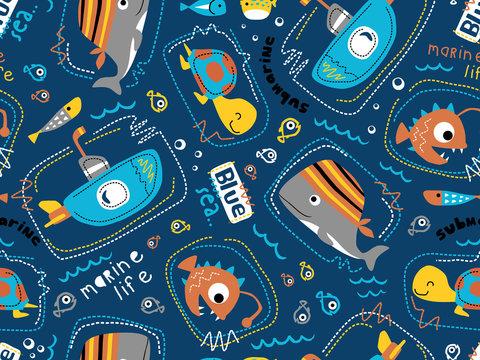 seamless pattern vector of submarine with sea animals cartoon