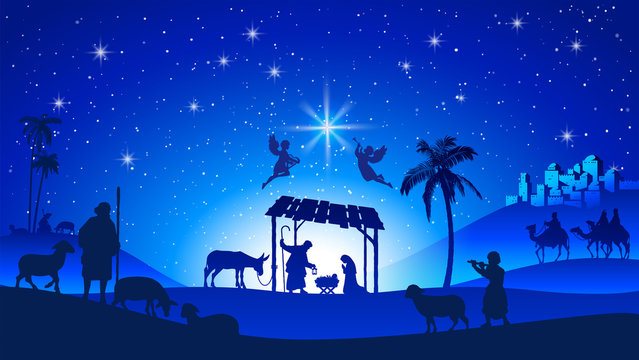 Christmas Nativity Scene with Manger Silhouette