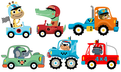 Vector set of sport car with funny racer