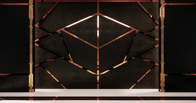 aluminum trim gold on black wall design and wooden floor.3D rednering
