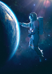 Astronaut in outer space touching the thin atmosphere of the earth - 3D rendering - concept art