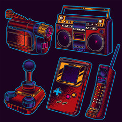 Original vector set of neon vintage retro illustrations of 80s and 90s.