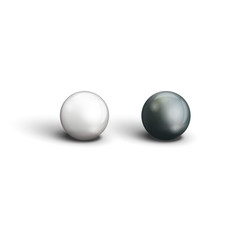 Realistic two black and white pearls closeup view isolated objects on a white background for advertising jewellery, jewelry vector illustration
