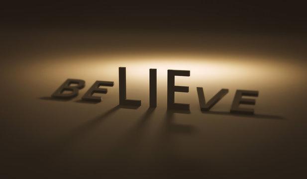 Believe concept of lie on dark background and belief. Lies or trust. Realistic 3D render.