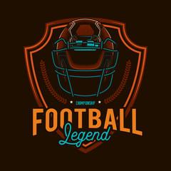 The original vector emblem of American football. Retro style football helmet.