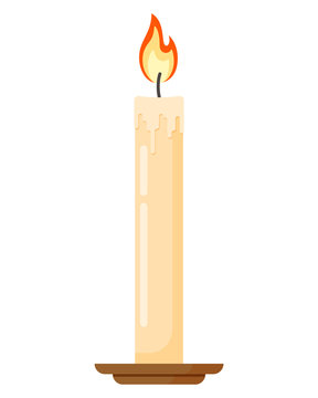 Colorful burning candle in candlestick. Flat cartoon style vector illustration icon isolated on a white background.
