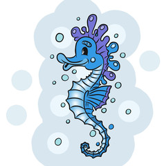 Cartoon watercolor Seahorse isolated on white background.
