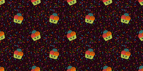 Colorful sugar jimmies and ice creams over purple background. Surface pattern design for background, fabric or paper. - Seamless pattern - Vector