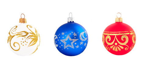 set of different christmas balls