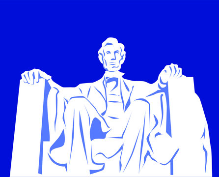 Vector illustration of the Abraham Lincoln monument in Washington DC, USA