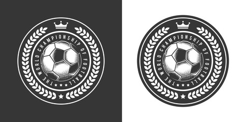 Original monochrome vector logo of the football club in retro style