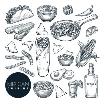 Mexican traditional food, vector sketch illustration. Hand drawn snack meal set. Restaurant, cafe menu design elements