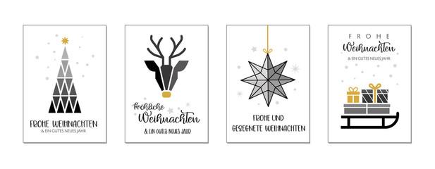 Weihnachtgrüße mit vier verschiedenen weihnachtlichen Motiven und wünschen