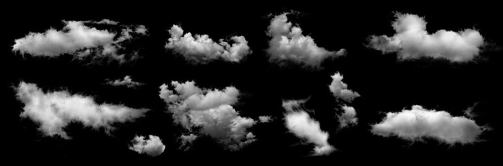 Group of white clouds isolated on black background.